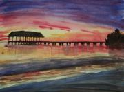 Hanalei Pier Sunset Framed Prints - Sunset at Hanalei Framed Print by Sara Ricer