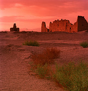 Residential Structure Prints - Sunset At Jiaohe Ruins Xinjiang China Print by Mel Hwang