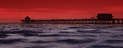 Dark Prints - Sunset at Naples Pier Print by Melanie Viola