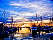 Boat Slip Posters - Sunset at Newport Poster by Ches Black