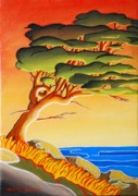 Spirit Trees Painting Metal Prints - Sunset At Pender Harbour Metal Print by Santo De Vita