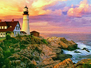 Maine Paintings - Sunset at Portland Head by Dominic Piperata