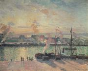 Boats At Dock Framed Prints - Sunset at Rouen Framed Print by Camille Pissarro