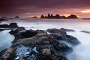 Silk Water Prints - Sunset at Seal Rock Print by Keith Kapple