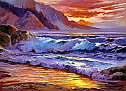 Nostalgia Paintings - Sunset At Shipwreck Beach by David Lloyd Glover