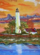 Lighthouse Paintings - Sunset at ST. Marks Lighthouse by Warren Thompson