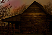 Barns Mixed Media Acrylic Prints - Sunset at the Barn Acrylic Print by Kim Henderson