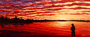 Sunrise Over Water Paintings - Sunset at the Bay by Douglas Keil