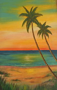 Beach Sunset Pictures Originals - Sunset at the Beach by Gabriela Valencia