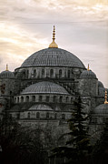 Blue Mosque Posters - Sunset at the Blue Mosque Poster by John Rizzuto