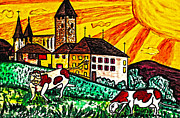 Cows Drawings Posters - Sunset at The Castle Poster by Monica Engeler