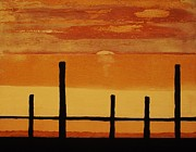 Mod Paintings - Sunset At The Dock Of The Bay by Marsha Heiken