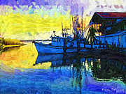 Docked Boat Originals - Sunset at the Docks by Karen Devonne Douglas