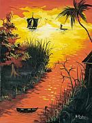 Haiti Paintings - Sunset at the Inlet by Herold Alvares