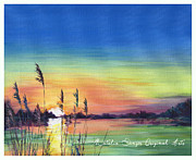 River View Paintings - Sunset at the Lake by Natasha Denger