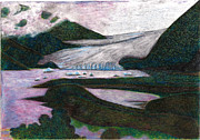 National Park Drawings - Sunset At The Mendenhall Glacier Juneau  Alaska by Al Goldfarb