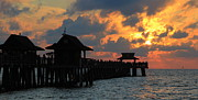 Paradise Pier Attraction Posters - Sunset at the Naples Pier Poster by Sean Allen