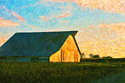 Barn Digital Art Posters - Sunset At The Old Barn Poster by Wingsdomain Art and Photography