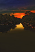 Sunset Framed Prints Posters - Sunset At The Old Canal Poster by Thomas York