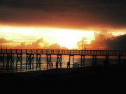Storm Digital Art Prints - Sunset at the Pier Print by Bill Cannon