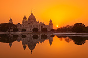 Kolkata Prints - Sunset At The Victoria Memorial, Calcutta Print by Adrian Pope