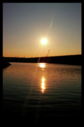 Sunset At Wolf Creek Dam Print by Amber Flowers