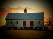 White Barns Framed Prints - Sunset Barn Framed Print by Joyce L Kimble