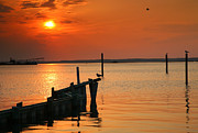 Chincoteague Island Prints - Sunset Bay V Print by Steven Ainsworth