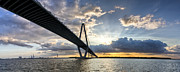 Charleston Sunset Posters - Sunset Behind Arthur Ravenel Jr Bridge Charleston South Carolina Poster by Dustin K Ryan