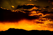 Sunset Behind Horsetooth Rock Print by Harry Strharsky