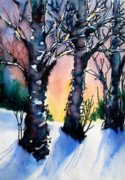 Snow Mixed Media Originals - Sunset Birches on the Rise by Kathy Braud