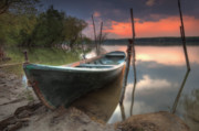 Fishing Boat Sunset Framed Prints - Sunset Boat Framed Print by Evgeni Dinev