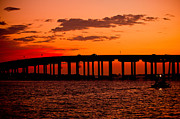 Destin Prints - Sunset Bridge Print by Paul Bartoszek