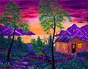Ringo Painting Originals - Sunset Cabin by J Ringo