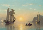 Sail Boats Painting Posters - Sunset Calm in the Bay of Fundy Poster by William Bradford
