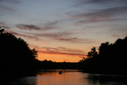 Boating Lake Prints - Sunset Canoe Print by Ty Helbach