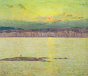 Reflecting Water Painting Metal Prints - Sunset Metal Print by Childe Hassam
