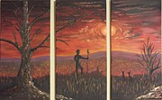 Kangaroos Paintings - Sunset by Christopher Vidal