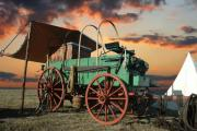 Ranch Posters - Sunset Chuckwagon Poster by Robert Anschutz