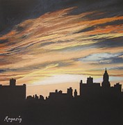 Cities Pastels Posters - Sunset City from East 2nd Street Poster by Harvey Rogosin