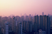 - Occupy Shanghai Prints - Sunset City Pink Print by Min Wei Photography