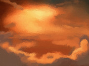 Fantasy Art Posters - Sunset clouds Poster by Pixel Chimp