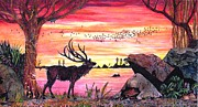 Flocks Painting Framed Prints - Sunset Deer Framed Print by Doug Hiser