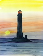 Lighthouse Painting Originals - Sunset by Eva Ason