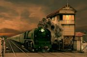 Signalbox Photos - Sunset Express by Steven Agius