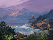 Cottage Painting Posters - Sunset Fog Poster by Michael Humphries