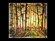 Sunset Glass Art Originals - Sunset forest by Osnat Menshes