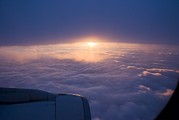 Sun Rise Prints - Sunset From Aircraft Print by Mark Williamson