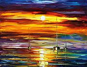 Yacht Painting Originals - Sunset From The Dreams by Leonid Afremov
