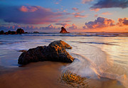Pacific Coast Metal Prints - Sunset Glow Metal Print by Mike  Dawson